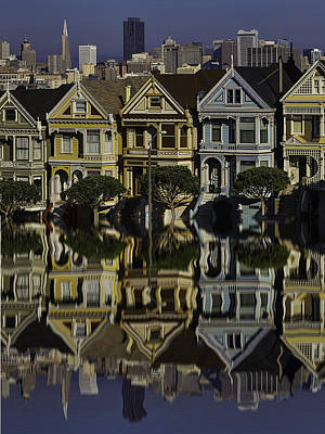 Painted Lady Photograph - Victorian Row Reflection by Garry Gay