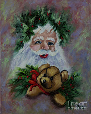 Painting - Victorian Santa And Teddy Bear by Linda Riesenberg Fisler