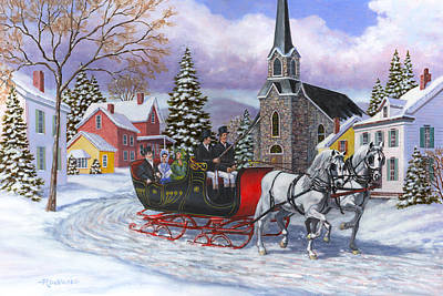 Horse Drawn Carriage Painting - Victorian Sleigh Ride by Richard De Wolfe
