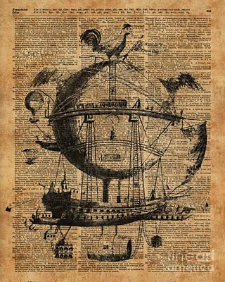 Victorian Steampunk Flying Machine Art Print by Jacob Kuch
