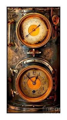 Photograph - Victorian Steampunk Meteorological Atmospheric Brass Steel And Copper Barometer by Peter Gumaer Ogden Collection