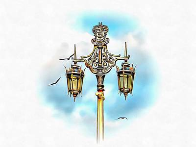 Photograph - Victorian Street Light With Seagulls by Dorothy Berry-Lound