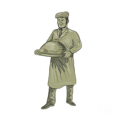 Victorian Waiter Serving Food Platter Drawing Art Print