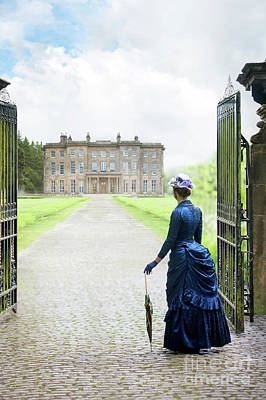 Photograph - Victorian Woman At The Gates Of A Mansion House by Lee Avison