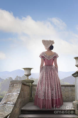 Regency Era Wall Art - Photograph - Victorian Woman In A Pink Dress Admiring The View by Lee Avison