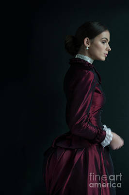 Photograph - Victorian Woman In A Red Bussle Dress  by Lee Avison