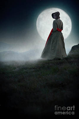 Photograph - Victorian Woman On The Moors At Night By A Full Moon by Lee Avison
