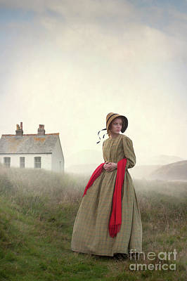 Photograph - Victorian Woman On The Moors With Cottage  by Lee Avison
