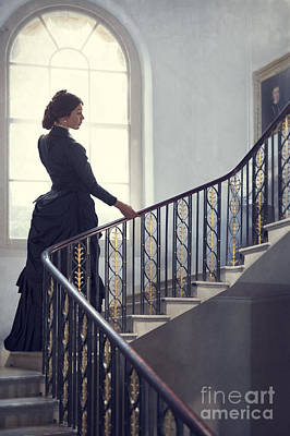 Photograph - Victorian Woman On The Staircase by Lee Avison
