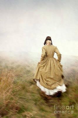 Victorian Woman Running On The Misty Moors Art Print