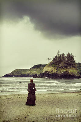 Photograph - Victorian Woman Walking By The Ocean by Jill Battaglia