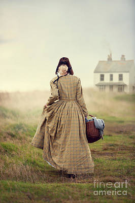 Photograph - Victorian Woman Walking Towards A Cottage On The Moors by Lee Avison