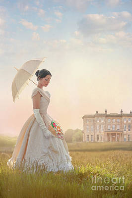 Victorian Woman With Parasol And Fan Art Print by Lee Avison