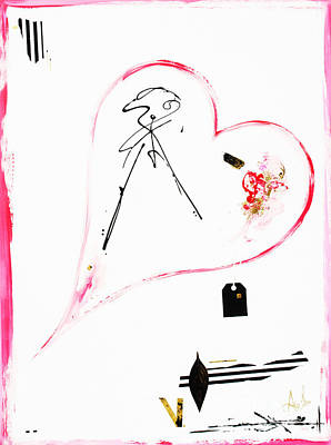 Artyzen Studios Mixed Media - Pink Black And Gold - Minimalist Heart Art Print by Anahi DeCanio