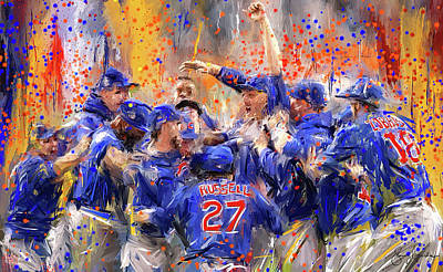 Sports Paintings - Victory At Last - Cubs 2016 World Series Champions by Lourry Legarde