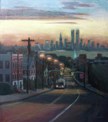 Skylines Paintings - Victory Boulevard at Dawn by Sarah Yuster