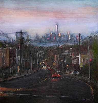 City Scenes Paintings - Victory Boulevard at Dusk by Sarah Yuster