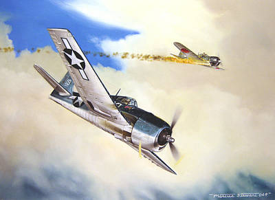 Military Aviation Art Painting - Victory For Vraciu by Marc Stewart