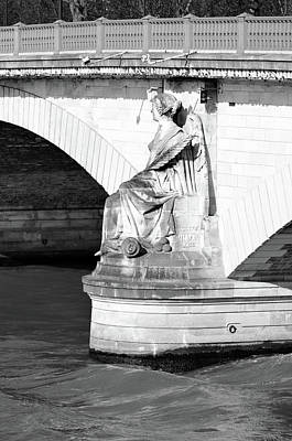 Photograph - Victory Maritime By Georges Diebolt On Pont Des Invalides Bridge In Paris France Black And White by Shawn O'Brien