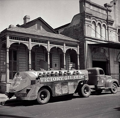 Shotgun Houses Wall Art - Photograph - Victory Oil Company Delivery Truck - New Orleans 1943 by Daniel Hagerman
