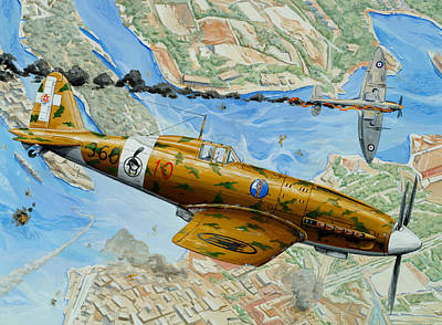 Fighter Drawing - Victory Over Malta by Charles Taylor