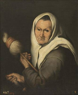 Spindles Painting - Vieja Hilando A Spindle In Her Hands by Bartolome Esteban