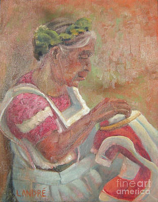 Painting - Viejita Bordando by Lilibeth Andre