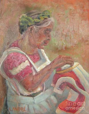 Painting - Viejita Bordando by Lilibeth Andre