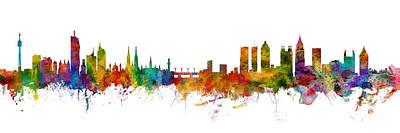 Digital Art - Vienna Austria And Atlanta Skylines Mashup by Michael Tompsett