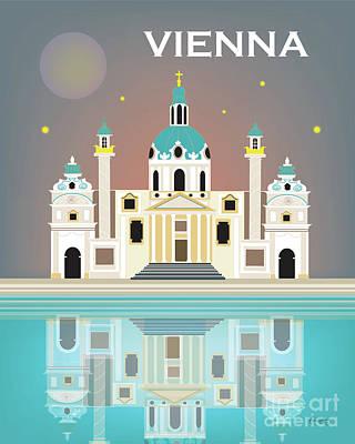 St Charles Digital Art - Vienna Austria Vertical Scene by Karen Young