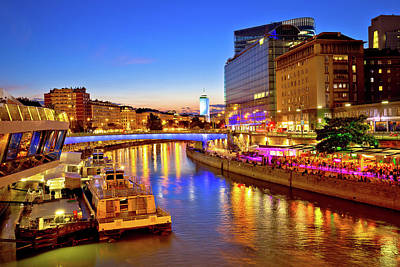 Photograph - Vienna City Modern Riverfront Evening View by Brch Photography