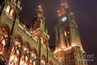 Photograph - Vienna Rathaus Time by John Rizzuto