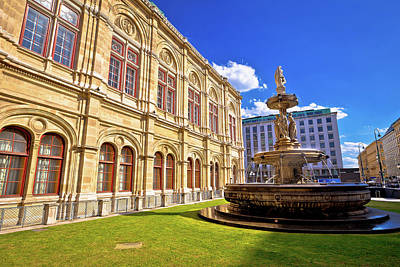 Photograph - Vienna State Opera House Fountain And Architecture View by Brch Photography