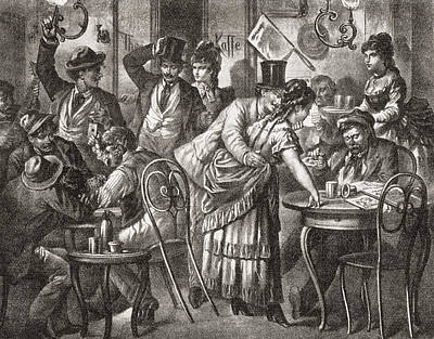 Viennese Coffee House Life, 1875. From Print by Vintage Design Pics