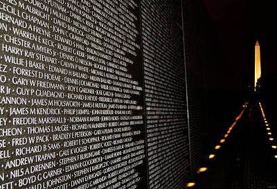 Photograph - Vietnam Memorial And The Washington Monument 001 by George Bostian