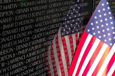Photograph - Vietnam Memorial Wall And Old Glory by Ram Vasudev