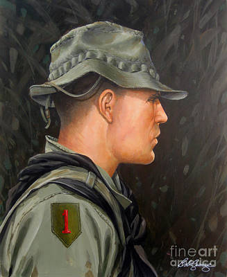 1st Division Painting - Vietnam Portraits No.12 by Bob  George