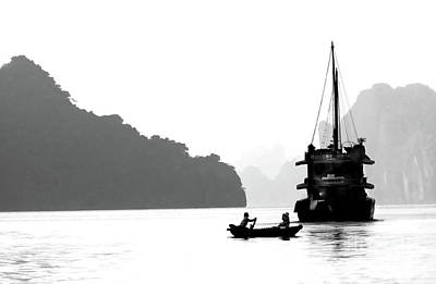 Photograph - Vietnam Scene Ha Long Bay Bw by Chuck Kuhn