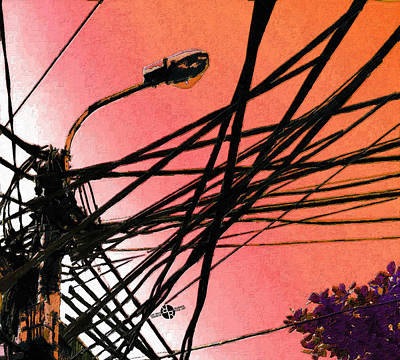 Patriotic Signs - Vietnam Telephone Wires Painting 3 by Tony Rubino
