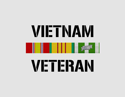 Mixed Media Royalty Free Images - Vietnam Veteran Ribbon Bar - Two Royalty-Free Image by War Is Hell Store