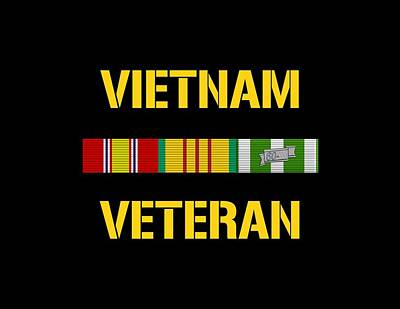 Vietnam War Digital Art - Vietnam Veteran Ribbon Bar by War Is Hell Store
