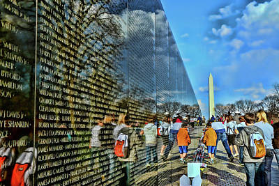 A White Christmas Cityscape - Vietnam Veterans Memorial and Washington Monument by Allen Beatty