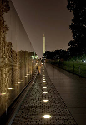 Vietnam Veterans Memorial Wall Photograph - Vietnam Veterans Memorial At Night by Chrystal Mimbs