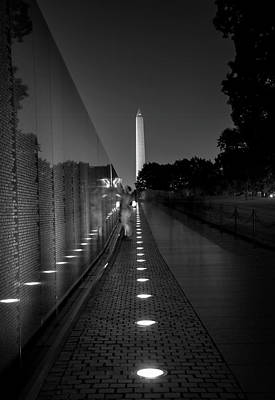 Vietnam Veterans Memorial Wall Photograph - Vietnam Veterans Memorial At Night In Black And White by Chrystal Mimbs