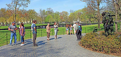 Photograph - Vietnam Veterans Memorial -- The Memorial Wall And The Three Soldiers Statue by Cora Wandel