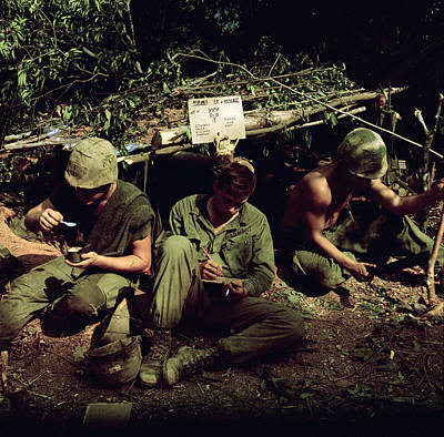 Barechested Photograph - Vietnam War. Home Is Where You Dig by Everett