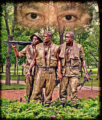 Drawing - Vietnam War Memorial Three Servicemen Statue In Washington D.c. Altered Version IIi by Jim Fitzpatrick