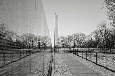 Photograph - Vietnam War Memorial With Washington Monument In Background by Brandon Bourdages