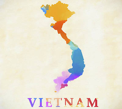 Painting - Vietnam Watercolor Map by Dan Sproul
