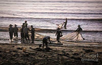 Photograph - Vietnamese Fishermen Nets Thinh Long Beach  by Chuck Kuhn